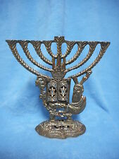 Vintage Rare Menorah BRASS Israel Moses 10 Commandments Candle Holder