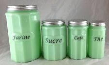 JADITE  GLASS PANEL PATTERN 4 PC CANISTER SET FRENCH FARINE - SUCRE - CAFE - THE