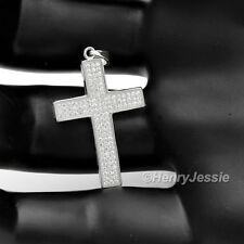 MEN WOMEN 925 STERLING SILVER LAB DIAMOND ICED OUT SMALL CROSS PENDANT*SP19