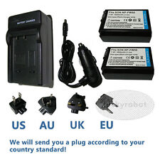 2X NP-FW50 Battery + Charger For Sony A5000 A6000 NEX 7 5 3 SLT A55 A33 A37 A7R