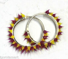 Pair Punk Silicon Rubber Hinged Sleeper Round Hoop Loops Ear Rings Earrings