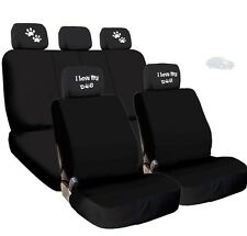 NEW 4X I LOVE MY DOG PAWS LOGO HEADREST WITH BLACK CLOTH SEAT COVERS FOR NISSAN