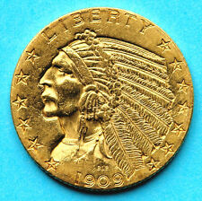 USA Indian Head Half Eagle $5 1909-D GOLD