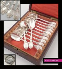 FAMOUS ANTIQUE 1890s FRENCH STERLING SILVER COFFEE SPOONS SET 12 pc Empire style