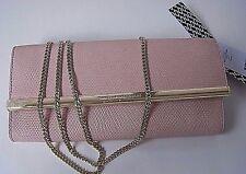New $228 Diane von Furstenberg Soirée Clutch Shimmer Lizard Pink Dust w/Dust Bag