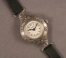 Antique Ladies' Wristwatch Swiss Art Nouveau .835 Silver Case & Gruen Movement