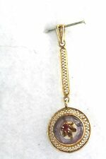 RARE ANTIQUE 14K GOLD MOSAIC AMETHYST RUBY LONG LAVALIERE PENDANT FOR A NECKLACE