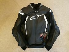 ALPINESTARS GP TECH 2014 BLACK/WHITE LEATHER MOTORCYCLE JACKET EU48 UK38 USED