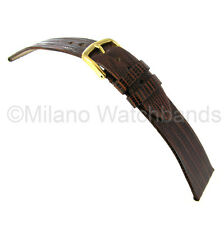 19mm Hadley Roma Genuine Teju Lizard Brown Flat Unstitched Watch Band 969