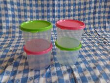TUPPERWARE New 4-PC SPRING MINI CANISTER SET Clear 2 Cups with Seals