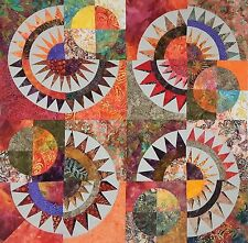 """New York Beauty Quilt Top Ready to Ship  Batiks + Kona 36"""" Square by Patchmaker"""