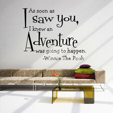 AS SOON AS I SAW YOU Quote Wall Sticker English Saying of Winnie The Pooh Decal