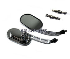 OVAL CHROME REAR VIEW MIRRORS HARLEY ROAD DYNA ELECTRA STREET ULTRA TRI GLIDE