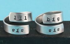 Lil Sis and Big Sis Ring Set Little Sister Big Sister Adjustable Wrap Rings
