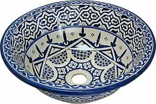 Fes Old Ceramic Moroccan Bathroom Sink Basin Hand Painted inside- out D 40cm