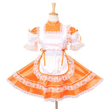 Sissy Maid Orange Satin Locking Dress Uniform Cosplay Costume