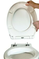 SOFT CLOSE WHITE TOILET SEAT | METAL TOP FIXING HINGES ONE FINGER QUICK RELEASE
