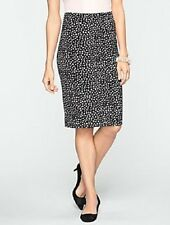 NEW $109 TALBOTS Black,White Animal Spaced Dots Pencil Skirt Sz 4