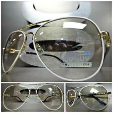 New CLASSIC VINTAGE RETRO Style Clear Lens SUN GLASSES SHADES Gold & White Frame