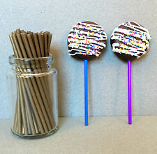 "50 Plastic Gold Lollipop Sticks For Lollipops & Cake Pops - 4 1/2"" x 5/32"""