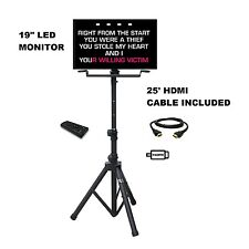 "19"" LED Karaoke Player Monitor Tripod Stand HDMI VGA RCA Video TV Karaoke laptop"