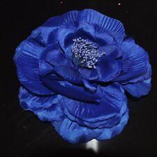 Pfingstrose royal BLAU Blume ROSE Brosche Ansteckblume Fascinator Haarschmuck