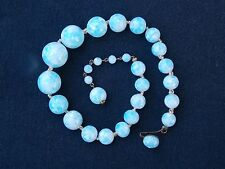 Vintage Blue and White Glass Beaded Choker Necklace Japan