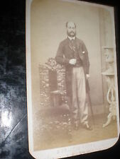 Cdv old photograph man cane chair by H Francis c1860s Ref 507(10)