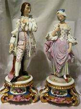 """Parian Ware Painted Lady and Gentleman Figures 17"""" with Gilded Porcelain Plinths"""