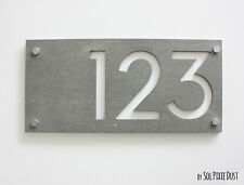 Modern House Numbers, Concrete with White Acrylic  -  Sign Plaque - Door Number