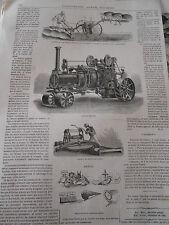 Gravure 1864 - Appareil de Labourage à Vapeur