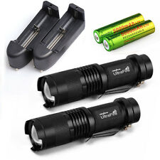 2x 5000LM Tactical Focus T6 LED Flashlight Torch+18650 &Charger USA SHIPPING