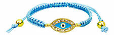 Evil Eye Gold Plated Blue Protection Bracelet with Crystals