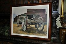 Hay Wagon and Barn  By Listed Artist Carl Funseth