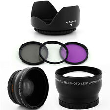 Wide Angle + Tele Lens Kit,Filters,Hood fo Panasonic Lumix DMC-G7 DMC-G7K camera