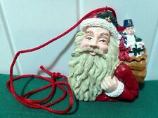 Vtg.Christmas Santa Claus Holding Toy Sack on Red Satin Cord Necklace Pendant
