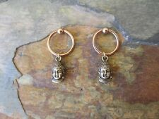 Nipple Ring Set-Bronze Buddha on Rose GP Piercing Captive Ring Tragus 14 G 1/2""