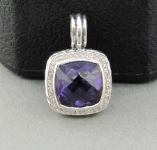 DAVID YURMAN 14MM ALBION PENDANT ENHANCER WITH AMETHYST AND DIAMONDS