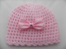 Baby Girl Pink Crochet Hat with a lovely large Satin Bow 0/3mths
