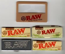RAW Rolling Papers 1 1/4 ORGANIC BUNDLE 2 Packs + 2 Cases + Magnifier/Scoop Card