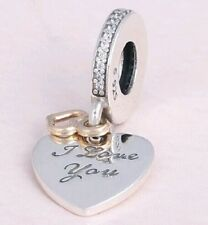 14k I LOVE YOU DANGLE HEART .925 Sterling Silver European Charm Bead V1