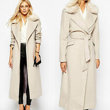 Oasis Faux Fur Removable Collar Claudia Winter Long Asis Formal Duster Coat M-12