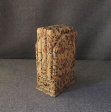 ANTIQUE CARDBOARD LINED IN FABRIC MINIATURE NOTEBOOK SHELF W/ DRAWER FOR DOLLS