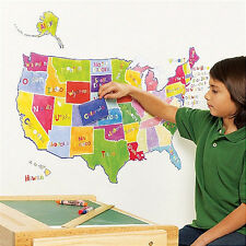 WALLIES U.S. STATE MAP wall stickers MURAL over 50 decals classroom interactive