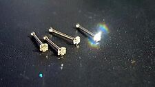 9ct Solid Yellow Gold Genuine 1.5mm DIAMOND Nose Stud Ball End - Free Delivery