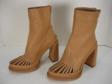 NEW ANN DEMEULEMEESTER LEATHER GATED BACK ZIP ANKLE BOOTS WOMEN'S 38