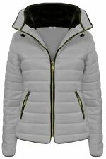 Ladies Jacket Coat Womens Fur Collar New Quilted Puffer Warm Padded Bubble 6-14