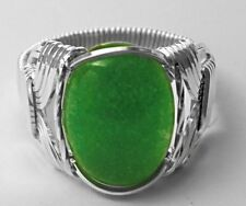 Green Jade .925 Sterling Silver Wide Band Ring Mens or Ladies