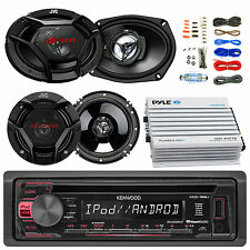 "CD AUX Kenwood Radio,JVC 6.5"" and 6x9"" Speakers,400W Bluetooth Amplifier and Kit"