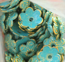 #700E Patina Bead Caps Deco Flower Floral Gold Unique Artsy 10mm Antiqued Green